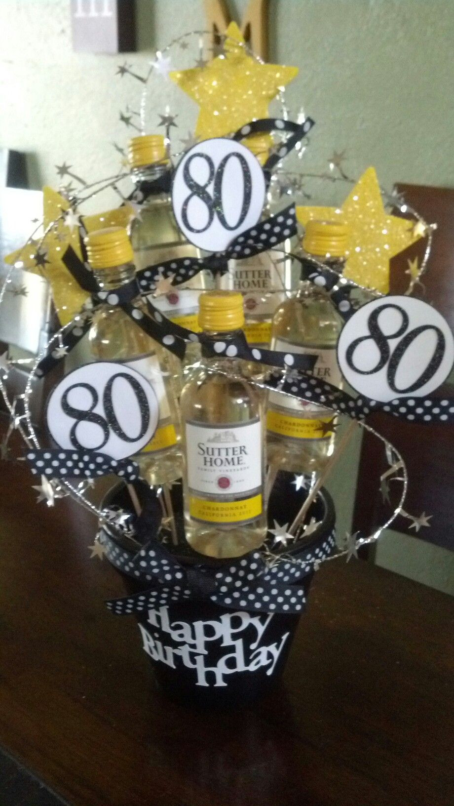 """Best ideas about 80th Birthday Gift Ideas . Save or Pin Another t """"basket"""" I made for a friend s dad s 80th Now."""
