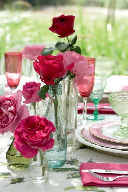 Best ideas about 80th Birthday Party Decorations For Table . Save or Pin Bottles of roses make beautiful 80th birthday decorations Now.