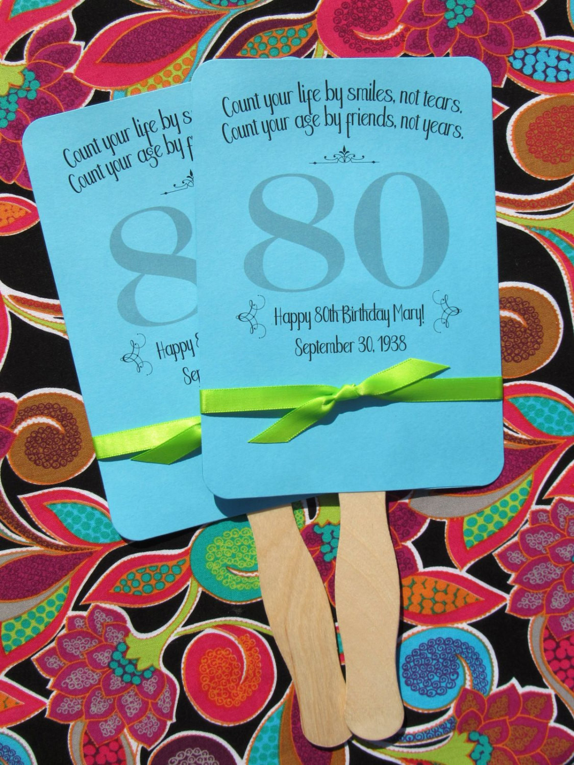 Best ideas about 80th Birthday Party Favors . Save or Pin Adult Birthday Favor 80th Birthday Personalized Fans Now.