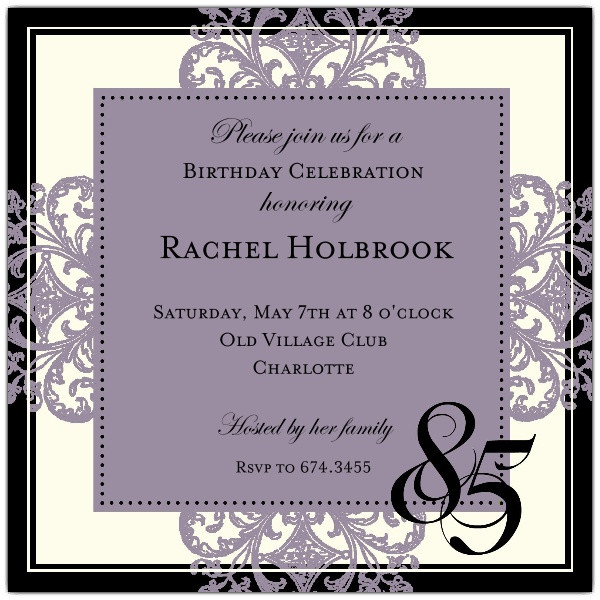 Best ideas about 85th Birthday Invitations . Save or Pin Decorative Square Border Eggplant 85th Birthday Now.
