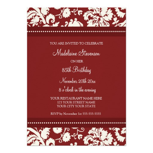 """Best ideas about 85th Birthday Invitations . Save or Pin Red Damask 85th Birthday Party Invitations 5"""" X 7 Now."""