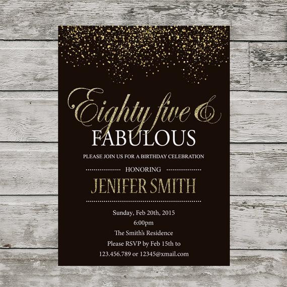 Best ideas about 85th Birthday Invitations . Save or Pin 85th birthday invitation for women PRINTABLE Eighty Five Now.