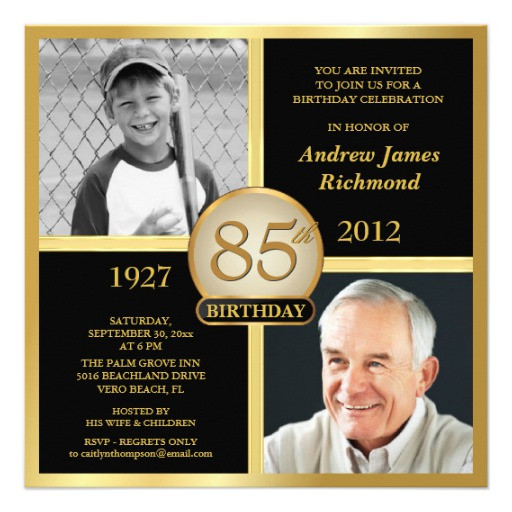 """Best ideas about 85th Birthday Invitations . Save or Pin 85th Birthday Invitations Then & Now s 5 25"""" Square Now."""
