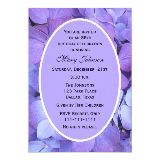 Best ideas about 85th Birthday Invitations . Save or Pin 85th Birthday Party Invitation Hydrangea Now.