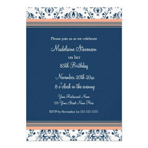 """Best ideas about 85th Birthday Invitations . Save or Pin Blue Damask 85th Birthday Party Invitations 5"""" X 7 Now."""