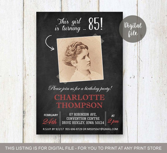 Best ideas about 85th Birthday Invitations . Save or Pin 85th Birthday Invitations Chalkboard Vintage collage Now.