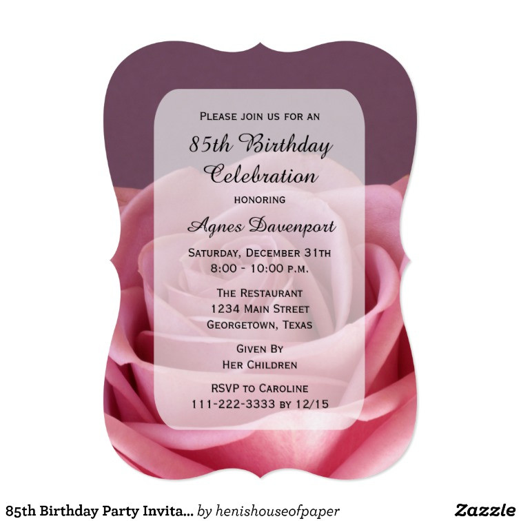 Best ideas about 85th Birthday Invitations . Save or Pin 85th Birthday Party Invitation Lovely Rose Now.