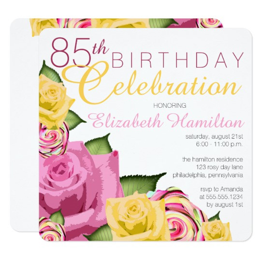 Best ideas about 85th Birthday Invitations . Save or Pin Pink Now.