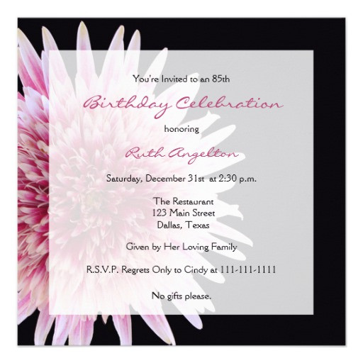Best ideas about 85th Birthday Invitations . Save or Pin 85th Birthday Party Invitation Gerbera Daisy Now.