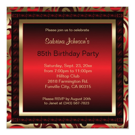 Best ideas about 85th Birthday Invitations . Save or Pin 85th Birthday Party Red Metallic & Gold Invitation Now.