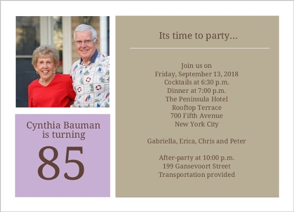 Best ideas about 85th Birthday Invitations . Save or Pin Simple Squares 85Th Birthday Invitation Now.