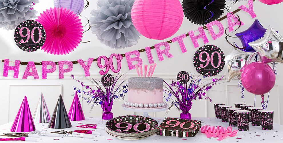 Best ideas about 90th Birthday Decorations . Save or Pin Pink Sparkling Celebration 90th Birthday Party Supplies Now.