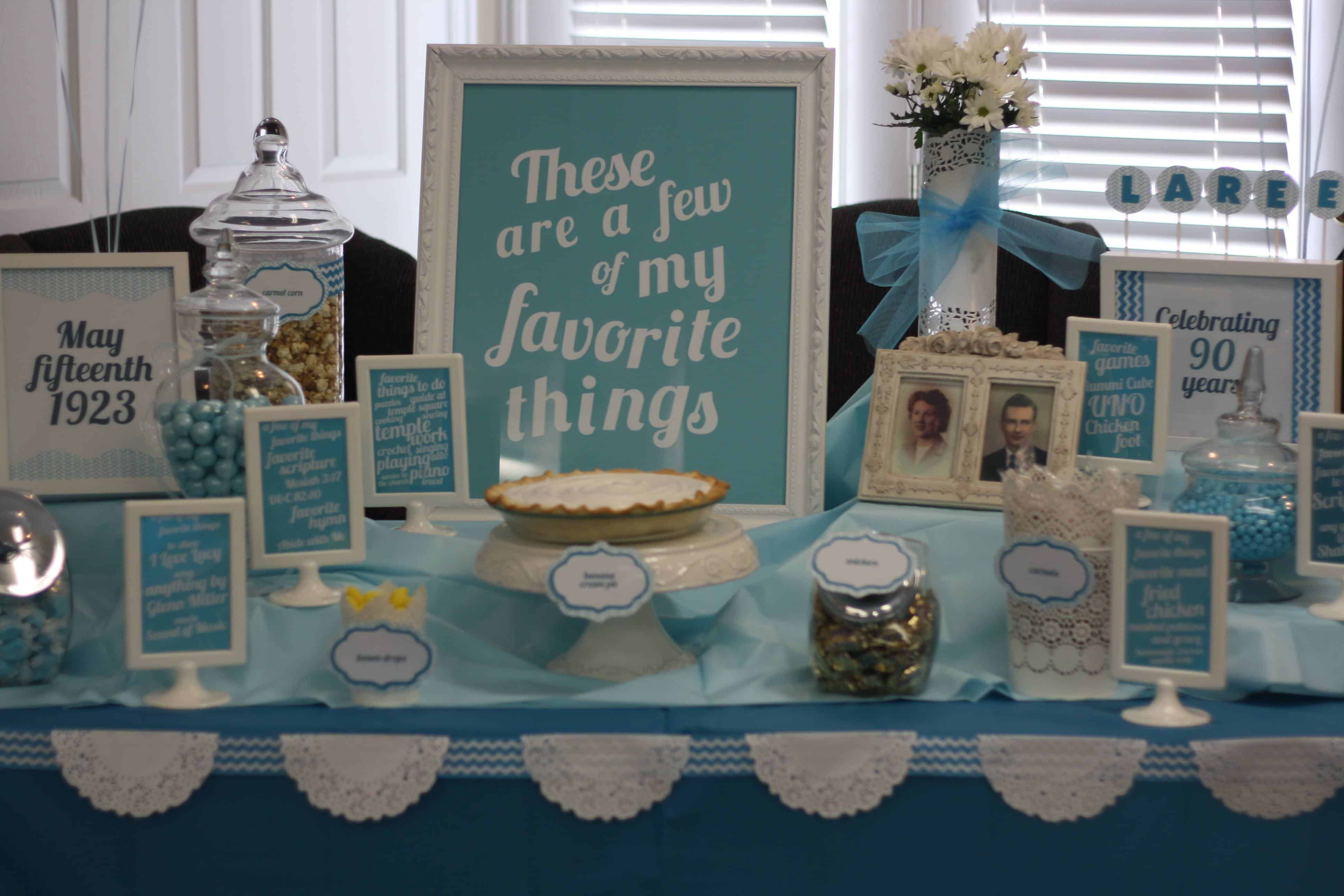 Best ideas about 90th Birthday Decorations . Save or Pin My Favorite Things 90th Birthday Party Theme Now.