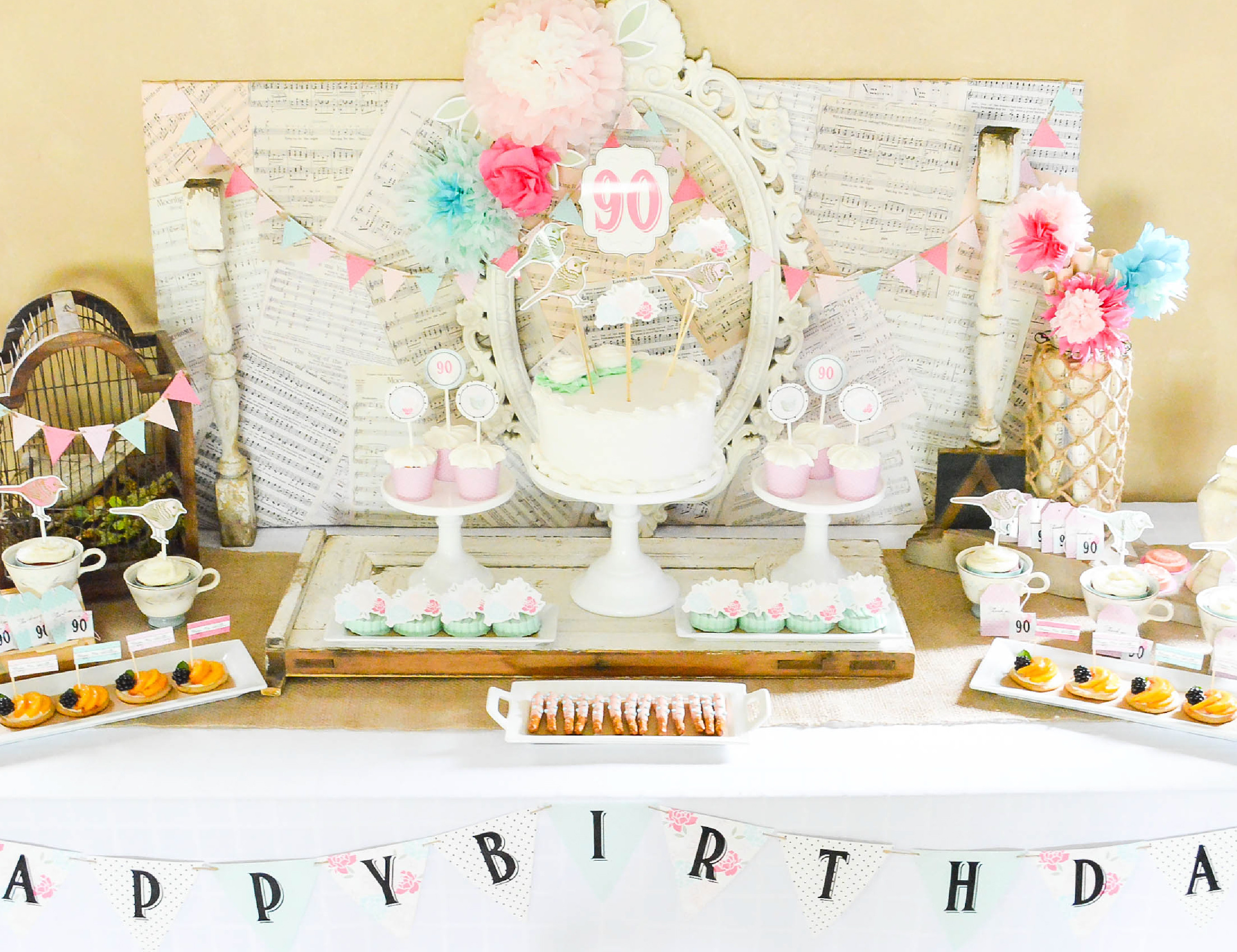 Best ideas about 90th Birthday Decorations . Save or Pin A Shabby Chic Vintage Rose 90th Birthday Celebration Now.