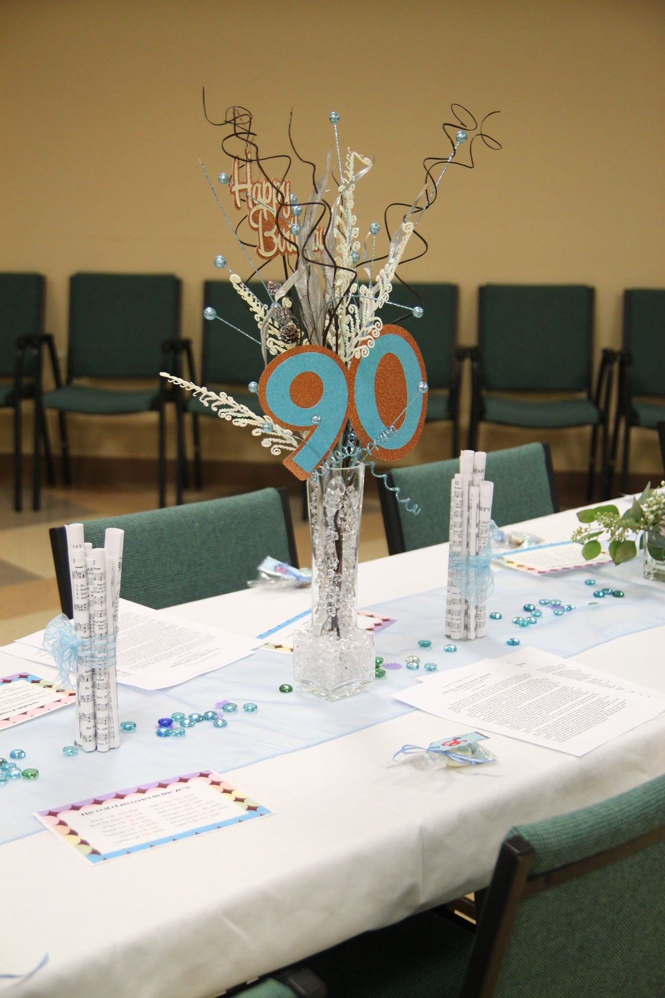 Best ideas about 90th Birthday Party Ideas Decorations . Save or Pin Centerpieces for Mom s 90th birthday Now.