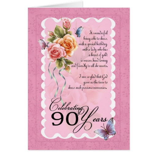 Best ideas about 90th Birthday Wishes . Save or Pin 90th birthday greeting card roses and butterflie Now.