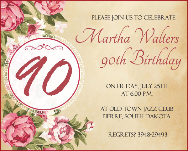 Best ideas about 90th Birthday Wishes . Save or Pin 90th Birthday Invitation Wording 365greetings Now.