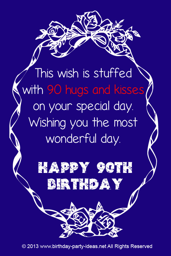 Best ideas about 90th Birthday Wishes . Save or Pin 90th Birthday Verses Quotes QuotesGram Now.