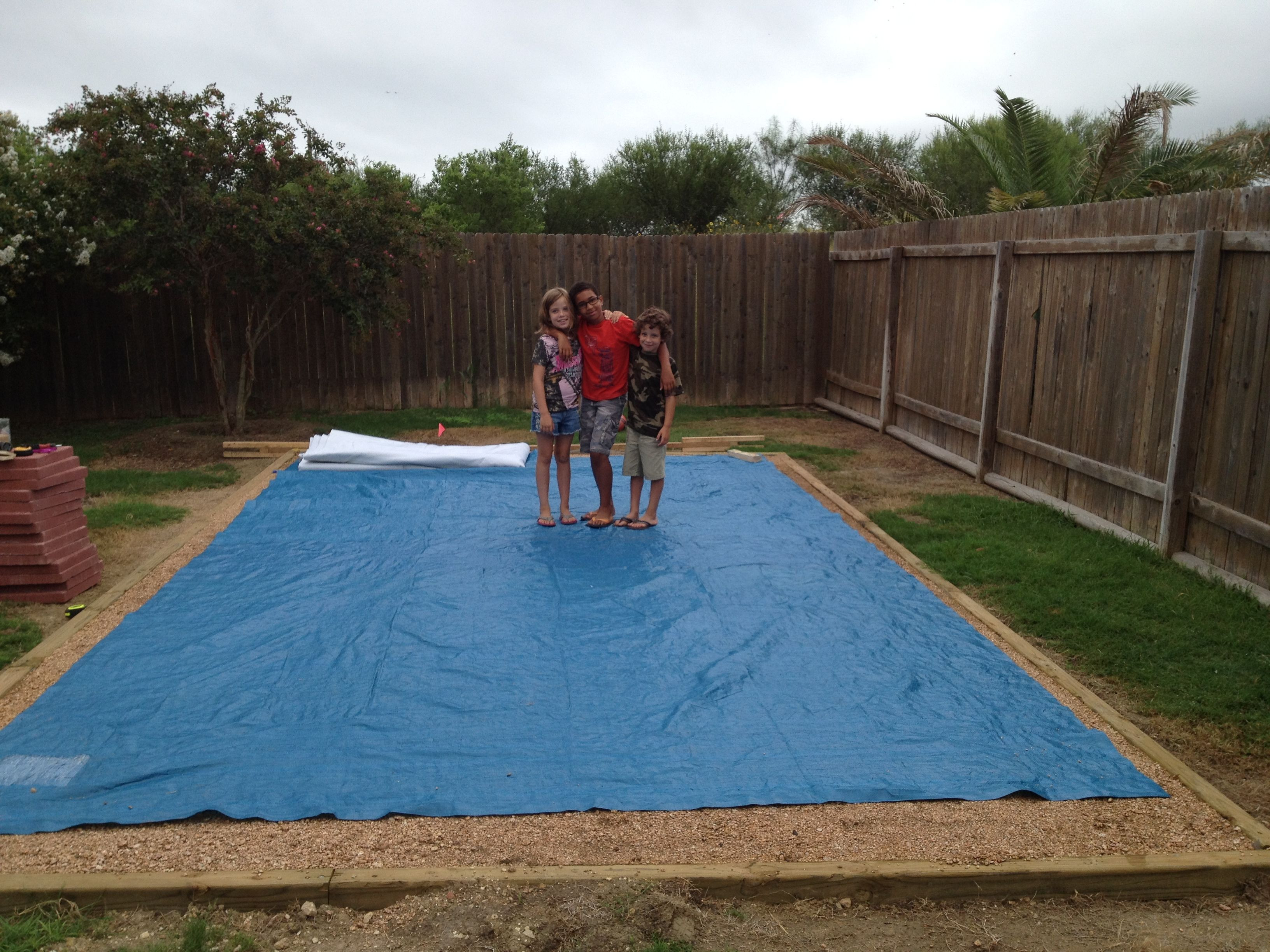 Best ideas about Above Ground Pool Pad Ideas . Save or Pin Tarp out ting ready to put gorilla pad down Now.