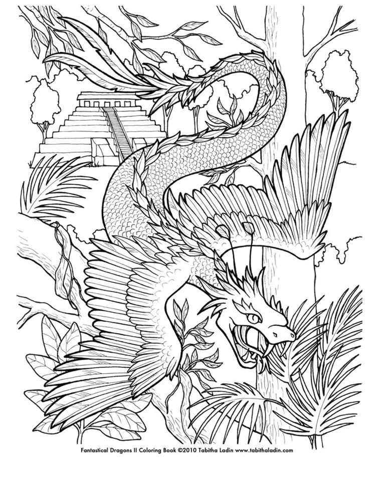 Best ideas about Adult Coloring Pages For Boys . Save or Pin Quetzalcoatl Coloring Page by TabLynn on deviantART Now.