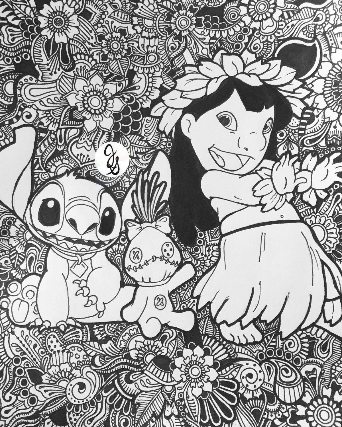 Best ideas about Adult Disney Coloring Books . Save or Pin Lilo and Stitch Floral Design Now.