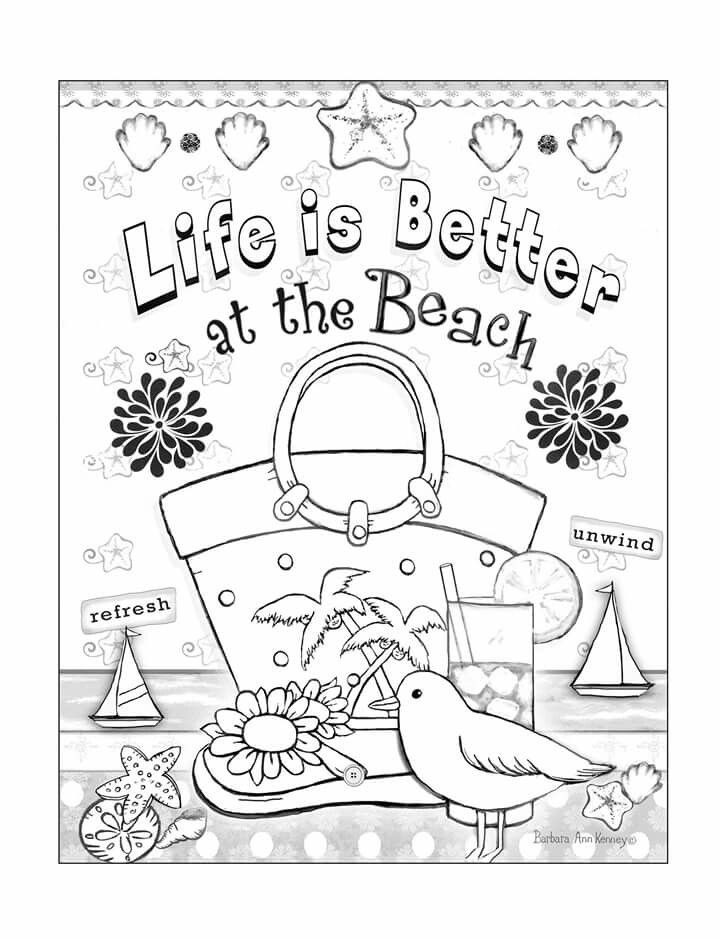 Best ideas about Adult Themed Coloring Books . Save or Pin Beach themed page from artist Barbara Ann Kenney s Now.