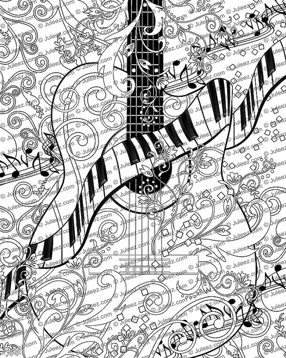 Best ideas about Adult Themed Coloring Books . Save or Pin Adult Coloring Page Printable Adult Guitar Coloring Poster Now.