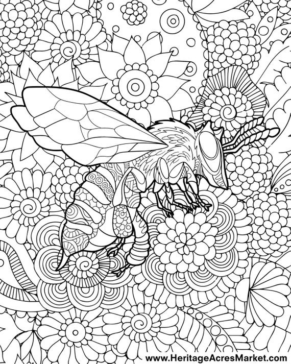 Best ideas about Adult Themed Coloring Books . Save or Pin Bee Theme Adult plicated Coloring Page PDF Digital Download Now.