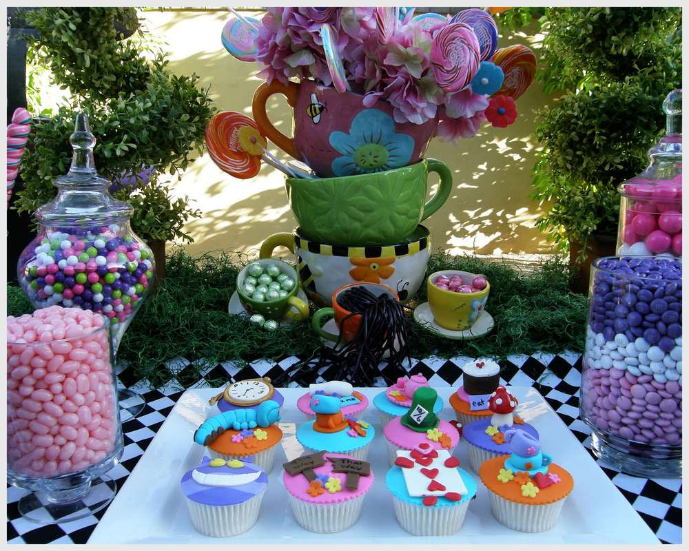 Best ideas about Alice In Wonderland Birthday Decorations . Save or Pin Alice in Wonderland Mad Tea Party Candy Buffet Birthday Now.