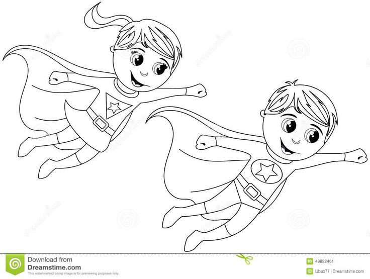 Best ideas about All Superhero Coloring Pages For Boys . Save or Pin Happy Superhero Kid Kids Flying Isolated Coloring Page Now.