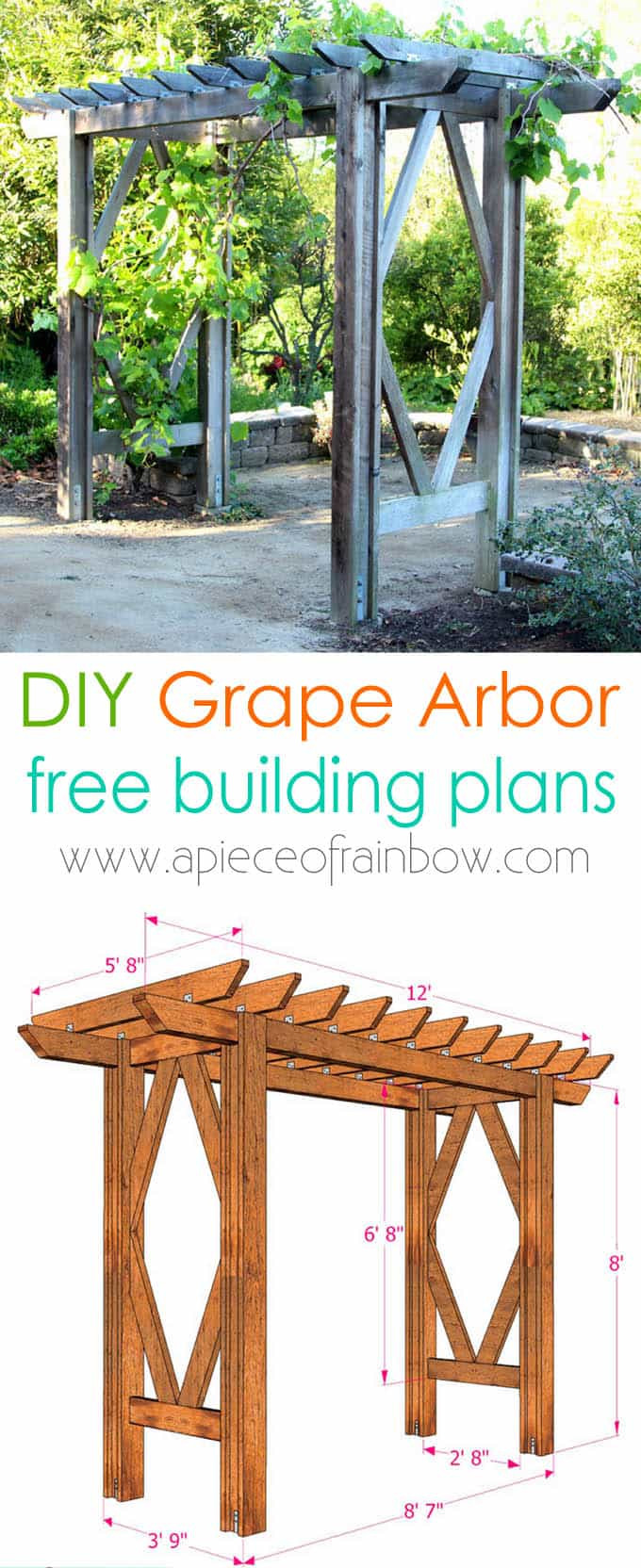 Best ideas about Arbor Plans DIY . Save or Pin DIY Grape Arbor Simple DIY Pergola Free Building Plan Now.