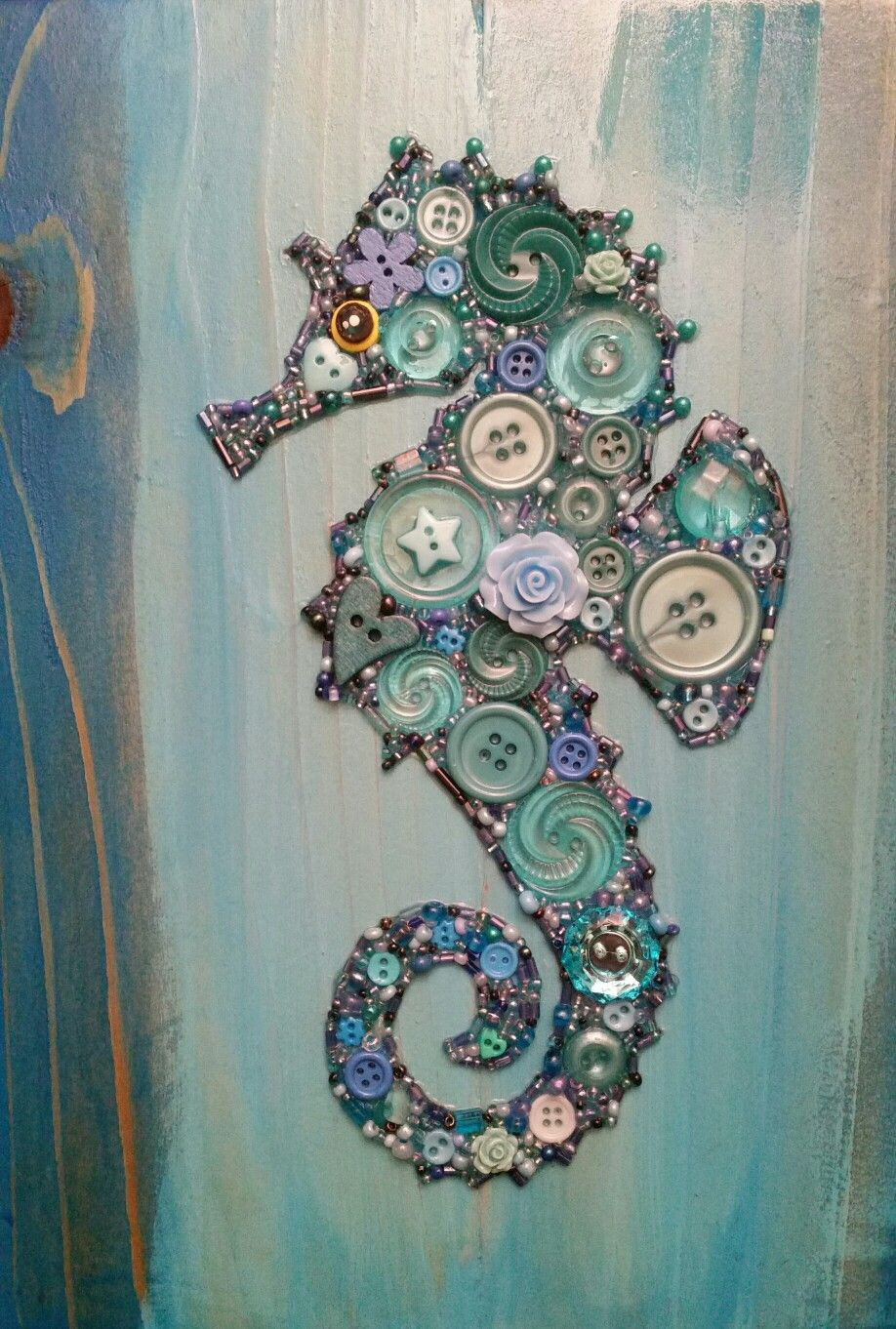 Best ideas about Art And Crafts . Save or Pin Button Art Seahorse on Recycled Wood with Acrylic Paint Now.