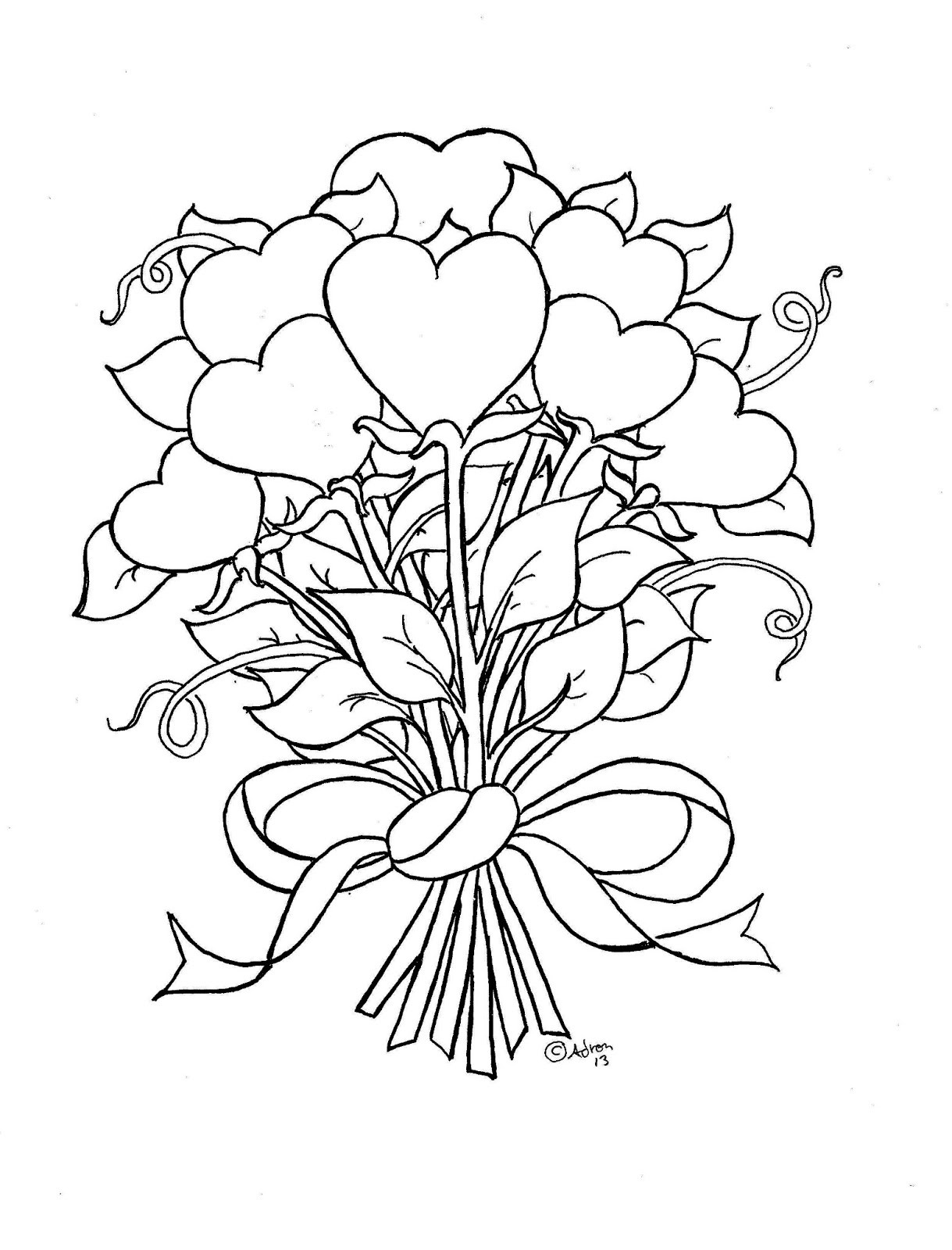 Best ideas about Artful Flower Heart Coloring Sheets For Girls Flowers . Save or Pin Coloring Pages for Kids by Mr Adron Flower Hearts Kid s Now.