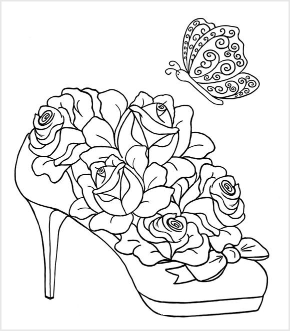 Best ideas about Artful Flower Heart Coloring Sheets For Girls Flowers . Save or Pin Взуття Розмальовки антистрес Now.