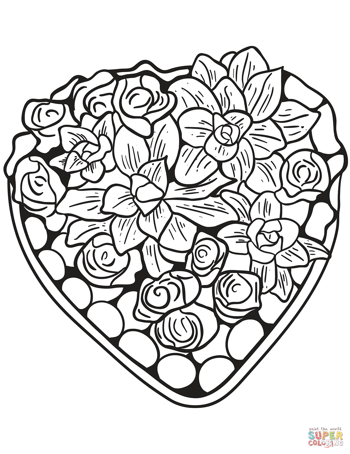 Best ideas about Artful Flower Heart Coloring Sheets For Girls Flowers . Save or Pin Heart Made of Flowers coloring page Now.