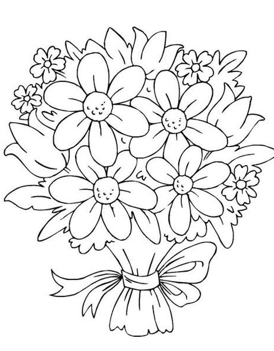 Best ideas about Artful Flower Heart Coloring Sheets For Girls Flowers . Save or Pin Bouquet Flowers Coloring Pages Now.