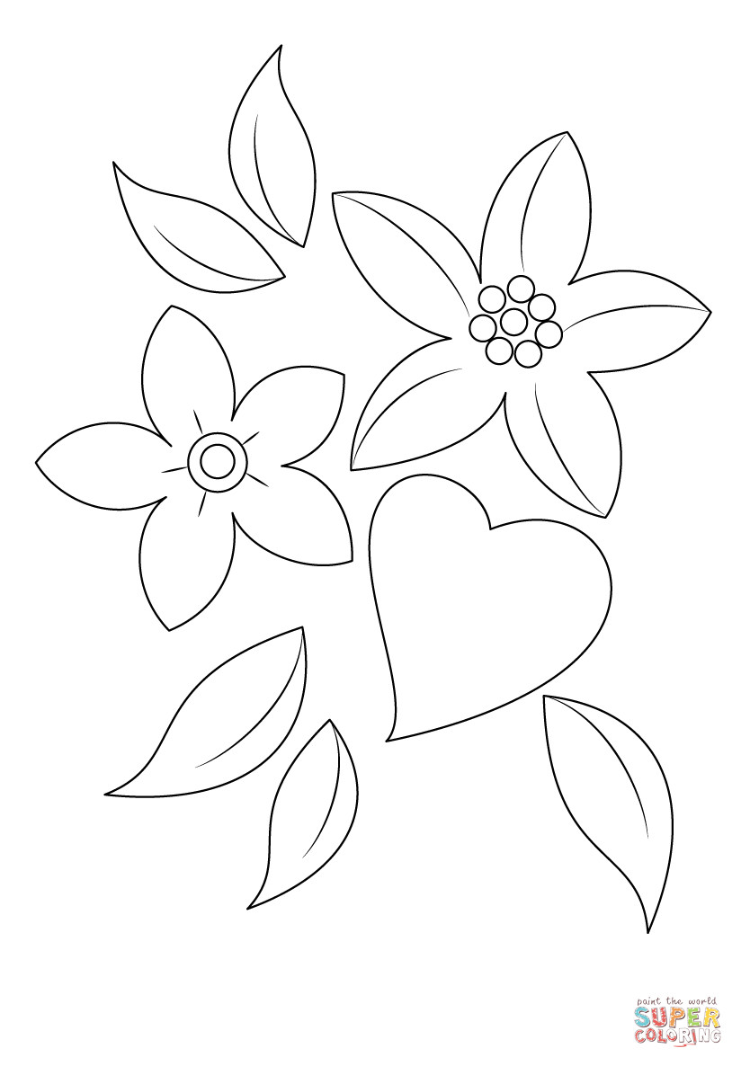 Best ideas about Artful Flower Heart Coloring Sheets For Girls Flowers . Save or Pin Heart and Flowers coloring page Now.