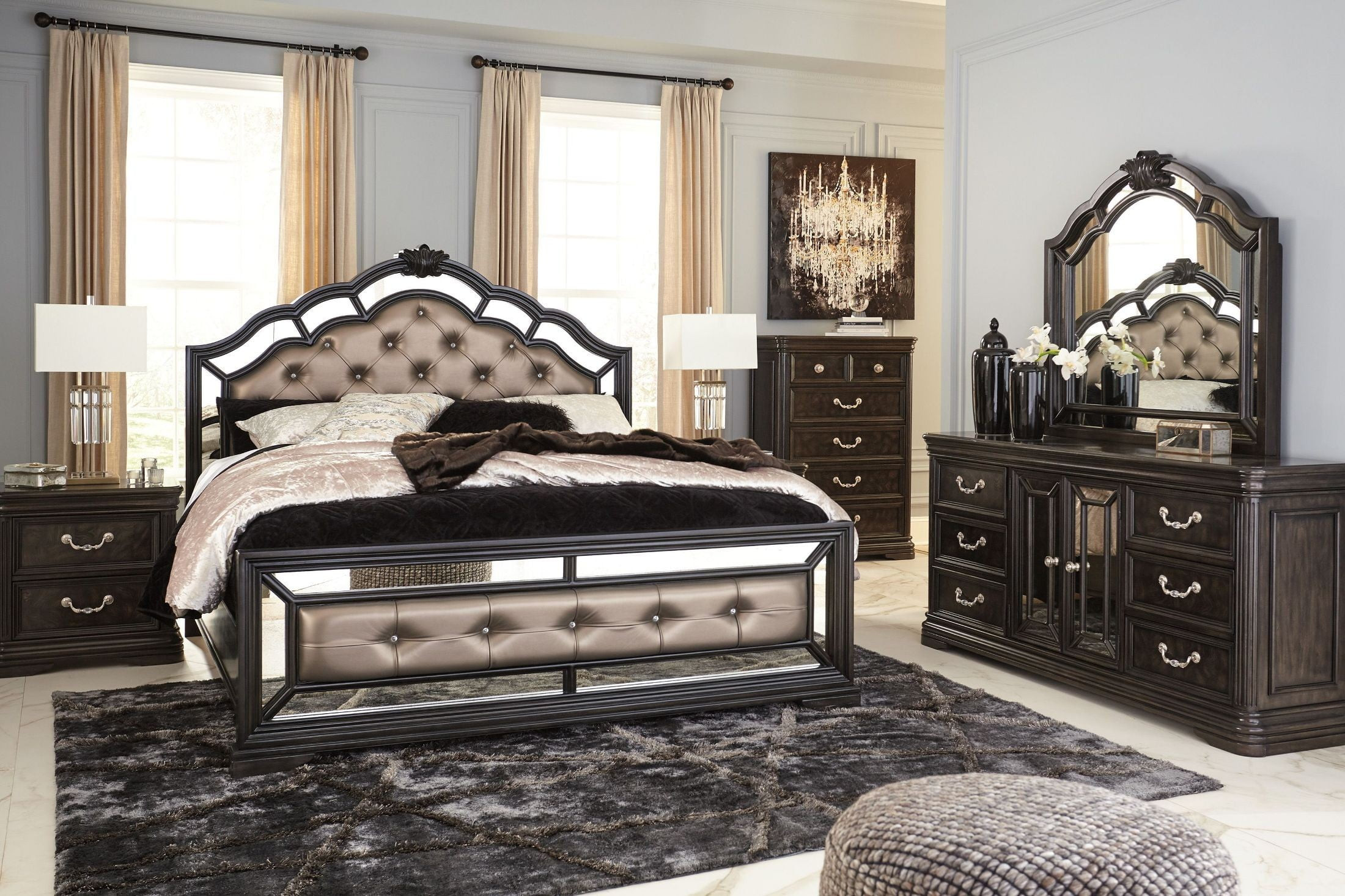 Best ideas about Ashley Bedroom Furniture . Save or Pin Quinshire Brown Upholstered Panel Bedroom Set from Ashley Now.