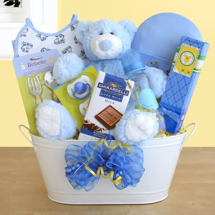 Best ideas about Baby Arrival Gift Ideas . Save or Pin New Arrival Baby Boy Gift Basket Now.