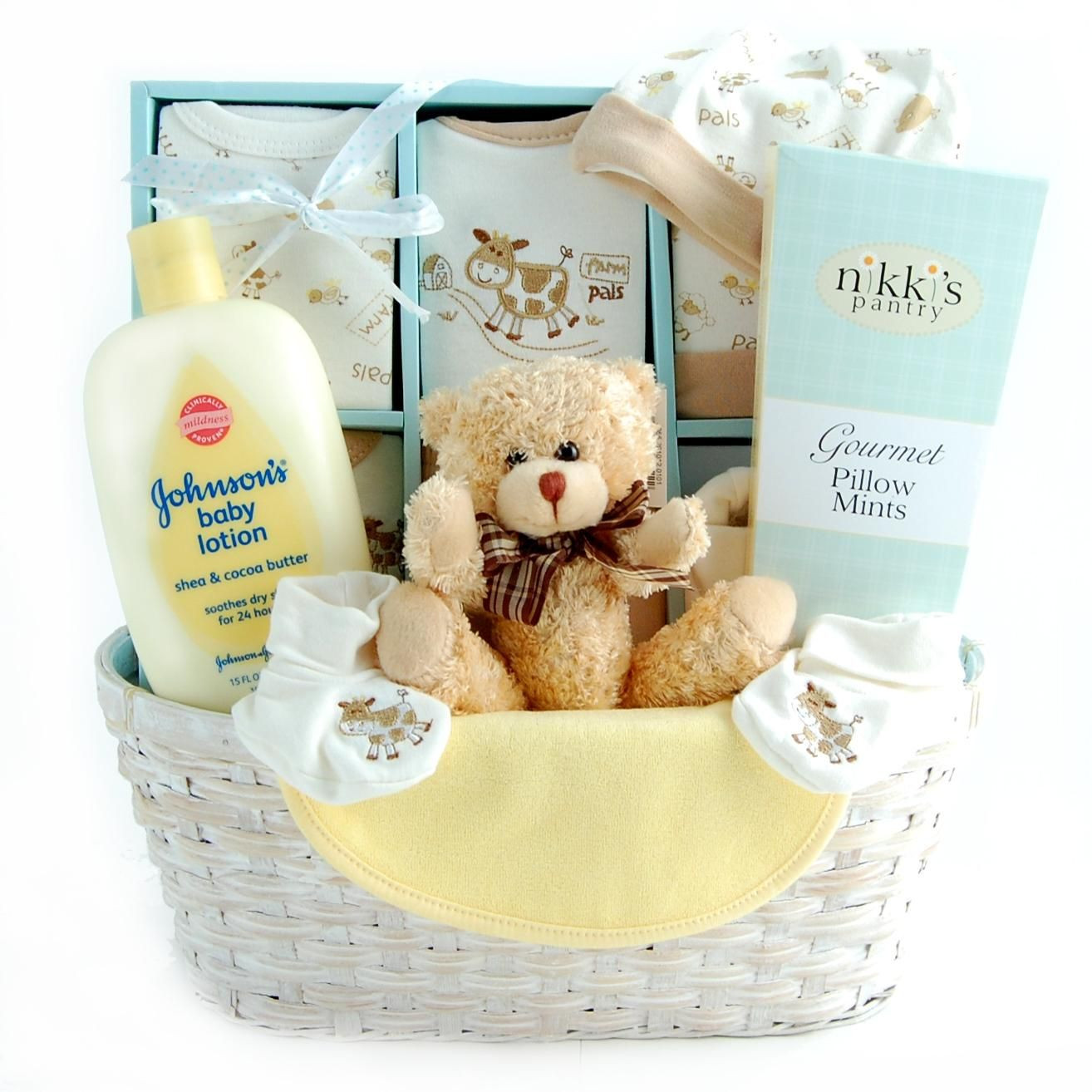 Best ideas about Baby Arrival Gift Ideas . Save or Pin New Arrival Baby Gift Basket Neutral Now.