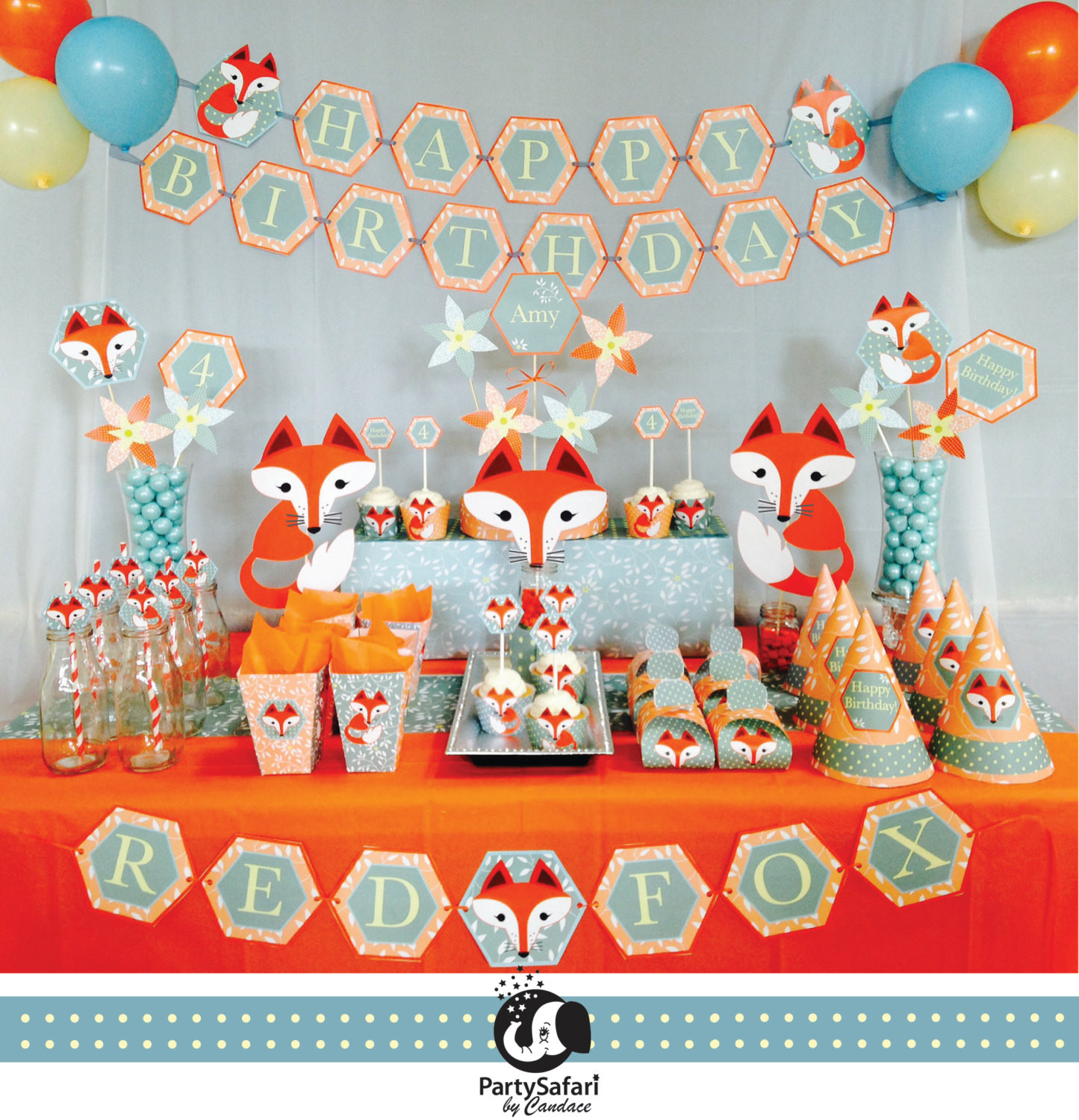 Best ideas about Baby Birthday Decorations . Save or Pin Woodland Red Fox Personalized Printable Party Package Red Now.