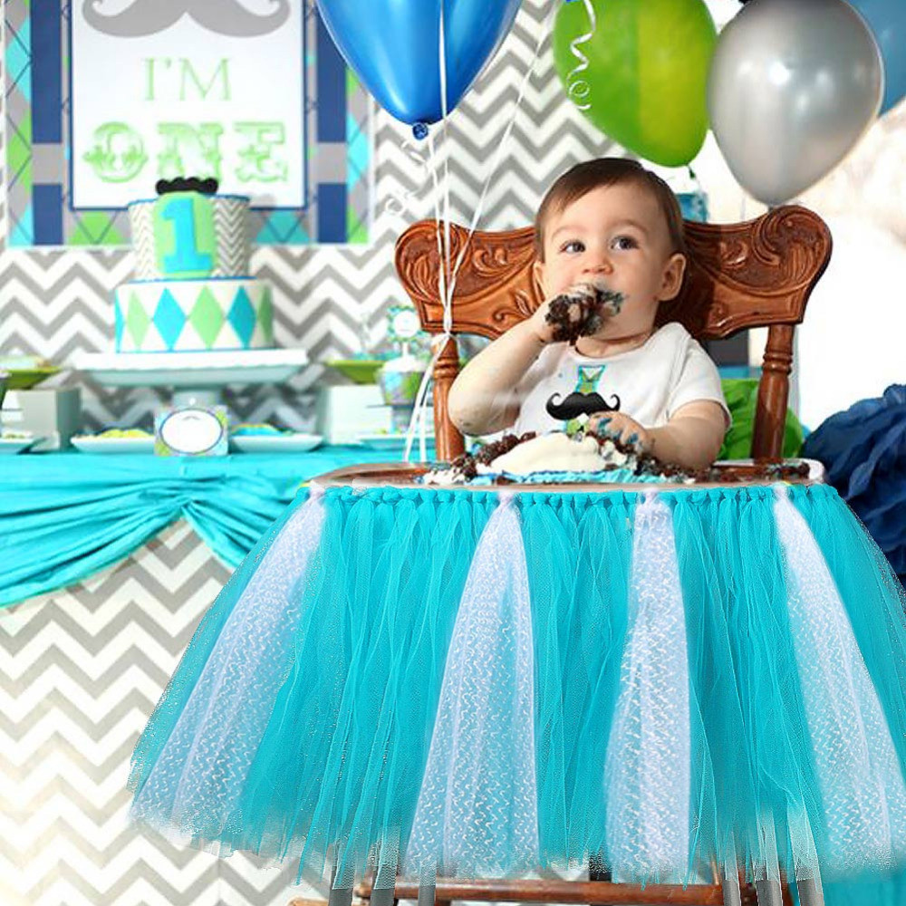 Best ideas about Baby Birthday Decorations . Save or Pin Baby Shower Boy Party Set Tutu Tull Skirt for High Chair Now.