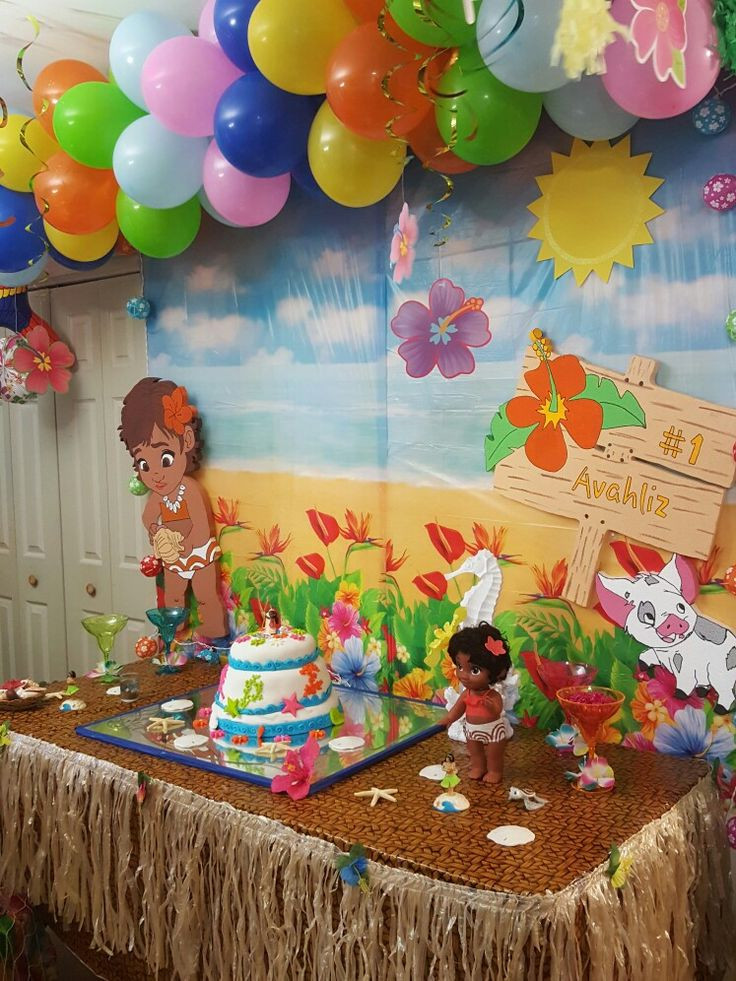 Best ideas about Baby Birthday Decorations . Save or Pin Moana birthday party decoration Now.