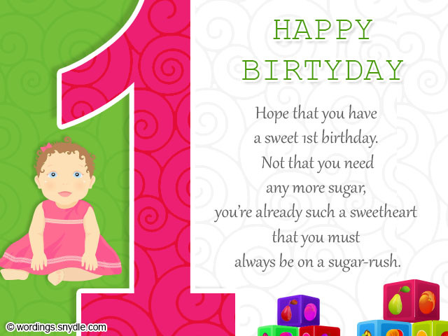Best ideas about Baby Birthday Wishes . Save or Pin 1st Birthday Wishes Wordings and Messages Now.