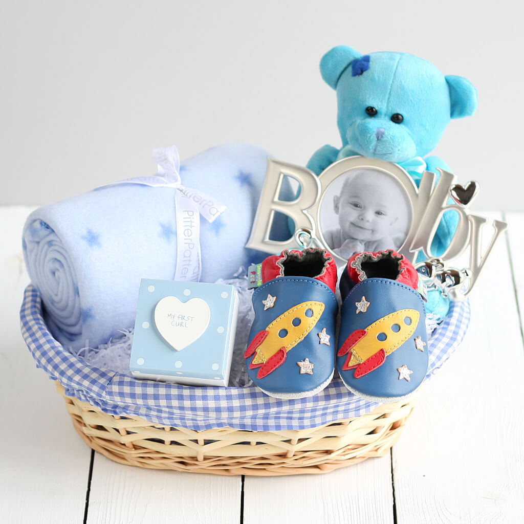 Best ideas about Baby Boy Shower Gift Ideas . Save or Pin Deluxe Boy New Baby Gift Basket Newborn Baby Hamper Baby Now.