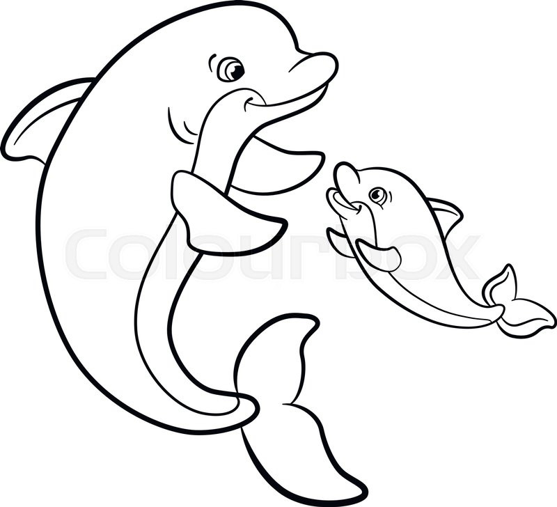 Best ideas about Baby Dolphin Coloring Pages For Kids . Save or Pin Coloring pages Marine wild animals Mother dolphin swims Now.