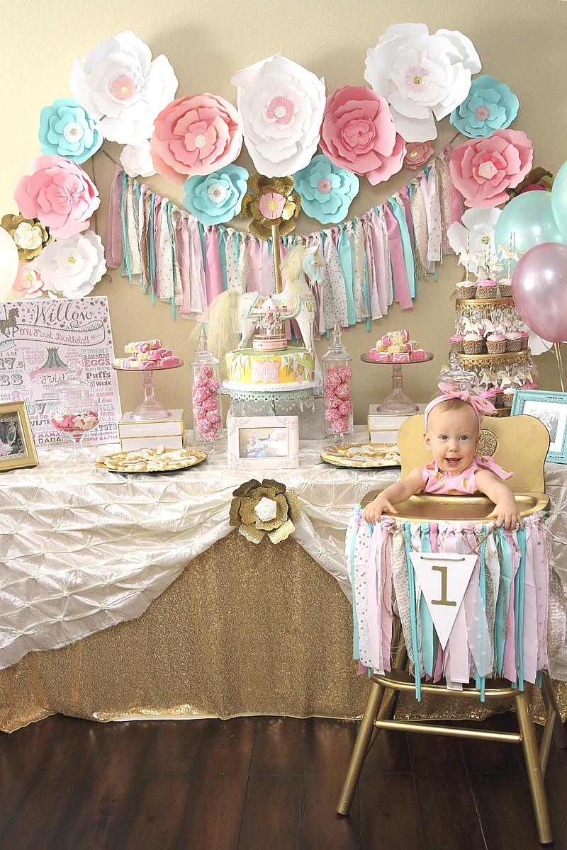 Best ideas about Baby Girl First Birthday Decorations . Save or Pin A Pink & Gold Carousel 1st Birthday Party Party Ideas Now.
