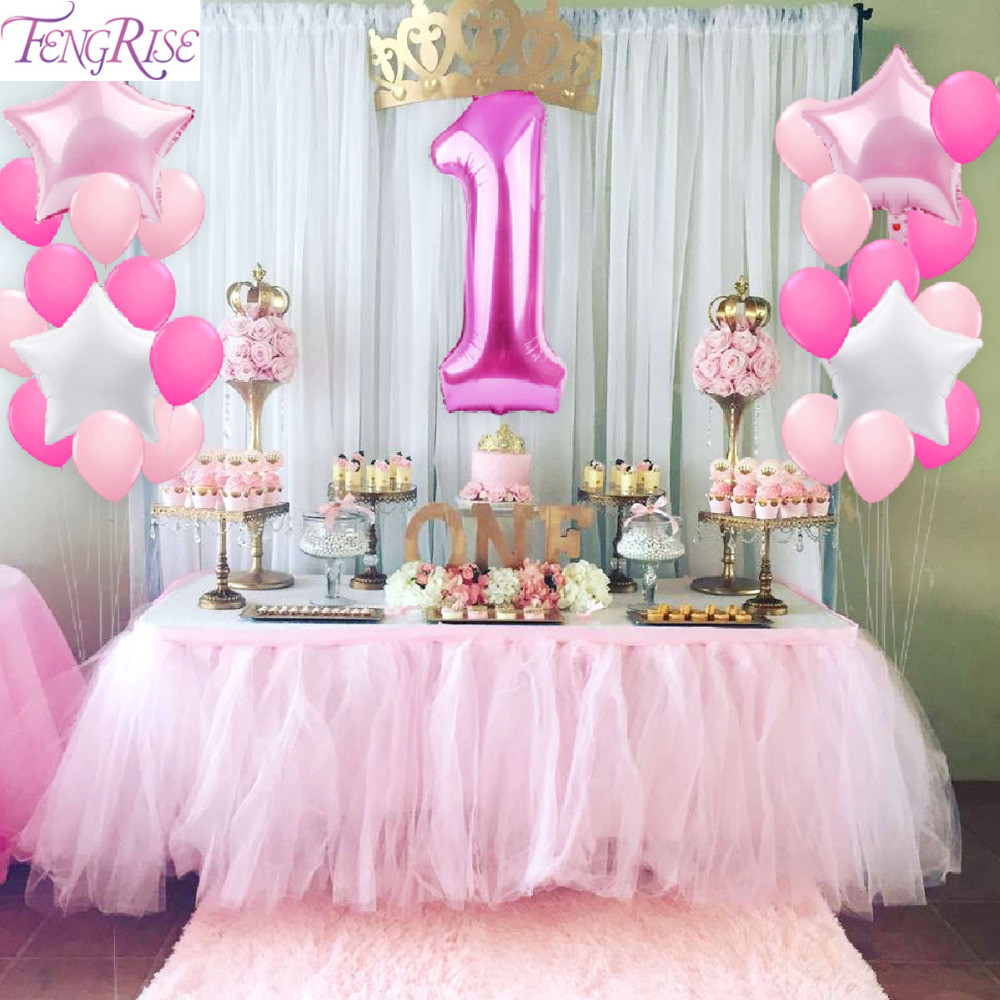 Best ideas about Baby Girl First Birthday Decorations . Save or Pin FENGRISE 1st Birthday Party Decoration DIY 40inch Number 1 Now.