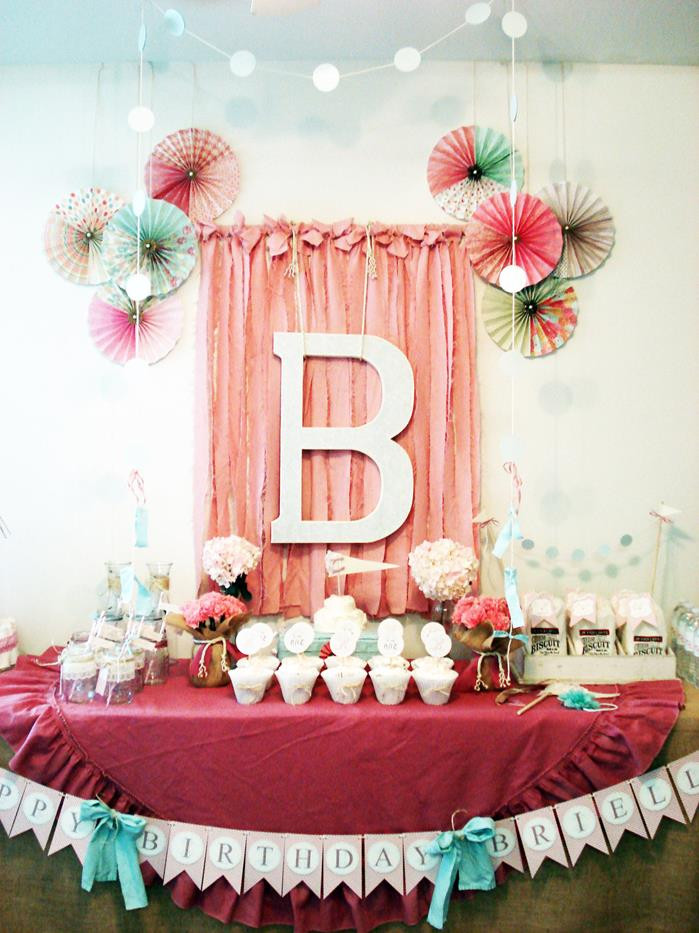 Best ideas about Baby Girl First Birthday Decorations . Save or Pin Kara s Party Ideas Vintage Chic 1st Girl Boy Birthday Now.