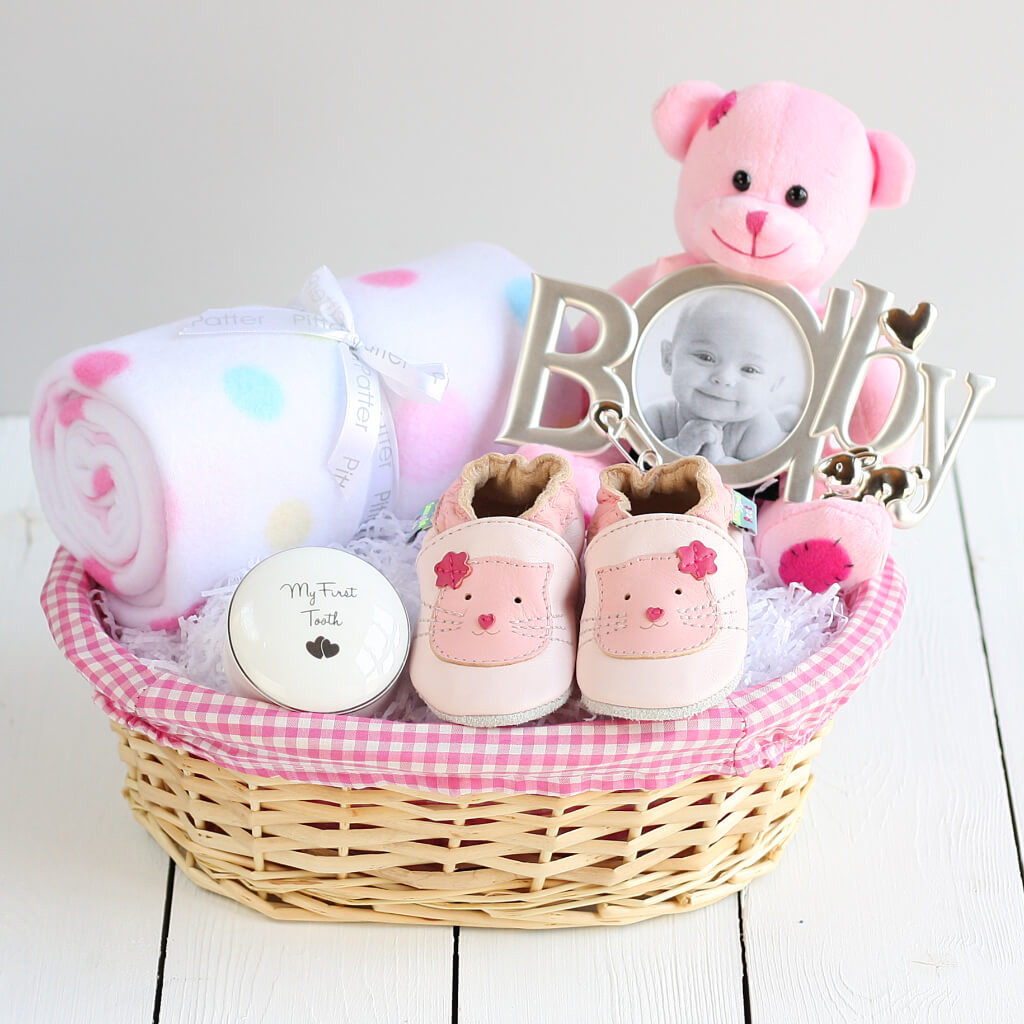 Best ideas about Baby Girl Gift Basket Ideas . Save or Pin Deluxe Girl New Baby Gift Basket Newborn Baby Hamper Now.